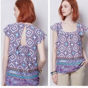 Anthropologie Geometric Flutter Blouse Sz  Small